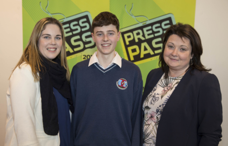 Student Jack Farrell with Causeway Comp teachers Michelle Mulvihill and Annemarie Hassett
