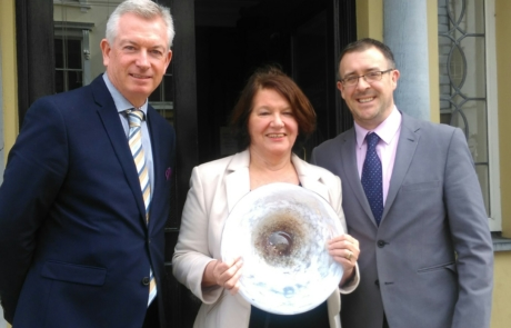 Tralee Business People Monthly Awards JANUARY - Breeda Hurley (centre), Kieran Ruttledge (left) and John Drummey (right) from Tralee Chamber Alliance
