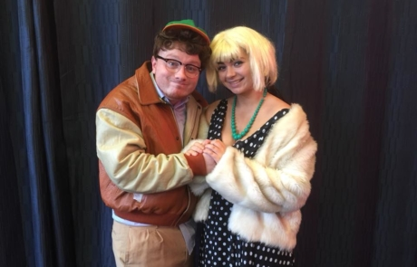 Jack Patrick Healy (Seymour) and Clodagh Harrington (Audrey) in rehearsal for Little Shop of Horrors